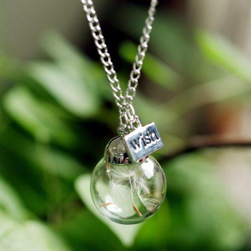 Löwenzahn Glas Halskette Glücksbringer