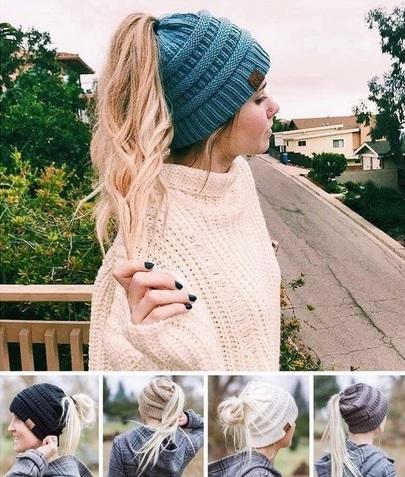 Mütze mit Loch für Haare Damen
