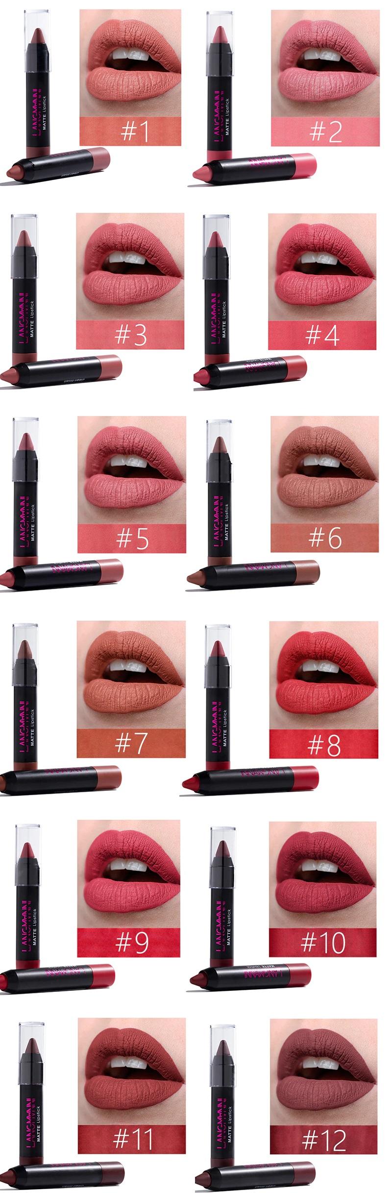 Lippenstift Set Matt Wasserdicht 12 Farben