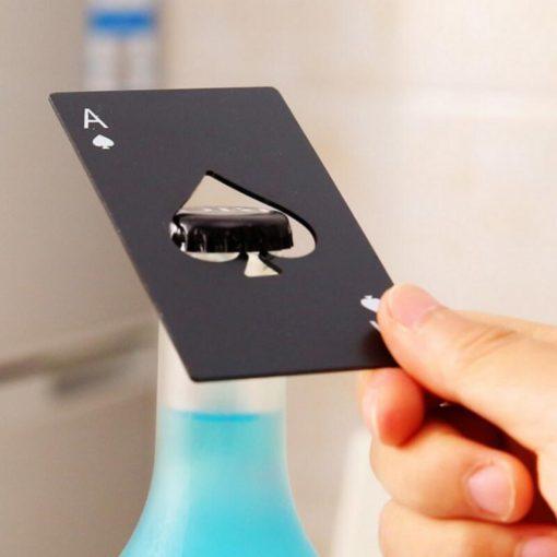 Pokerkarte Flaschenöffner Pik Ass Stahl