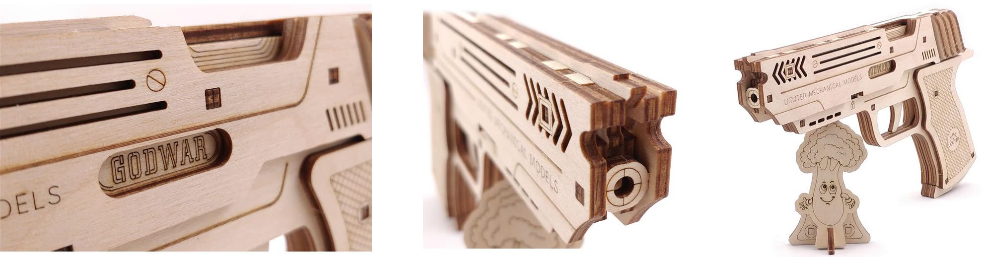 Gummiband Pistole aus Holz Schweiz