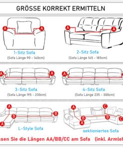 Sofaüberwurft Stretch Messanleitung