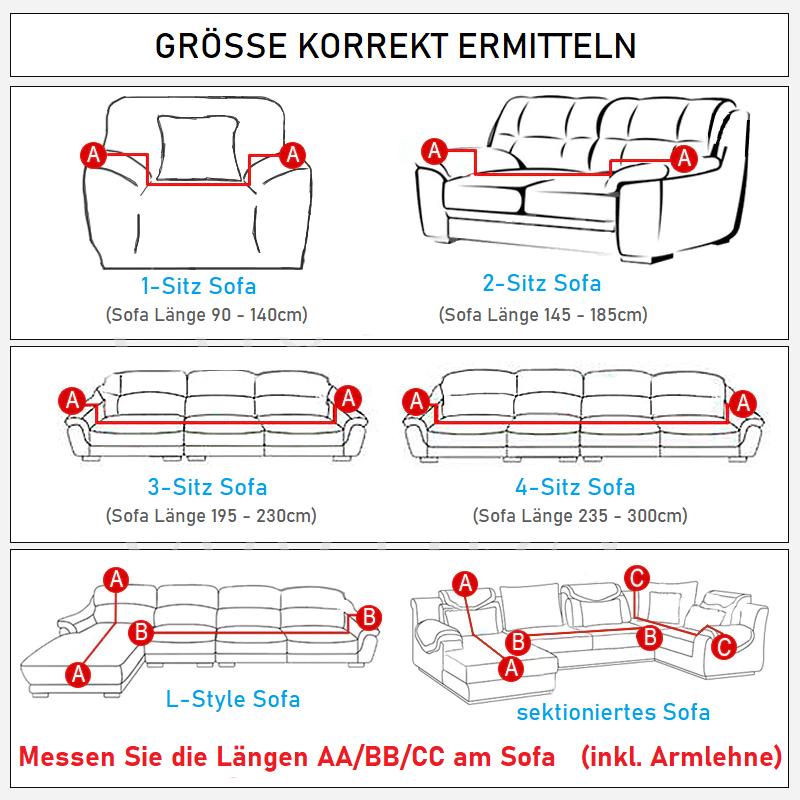 Sofaüberzug Schutzcover Grösse messen