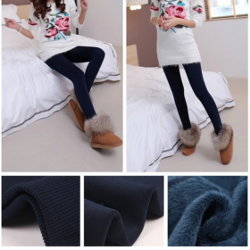 Winter Fleece Leggigns Navy Blau