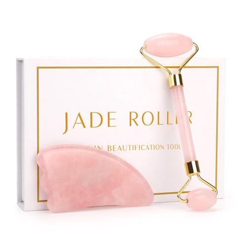 Gesichtsmassage Roller aus echtem Rose Quarz