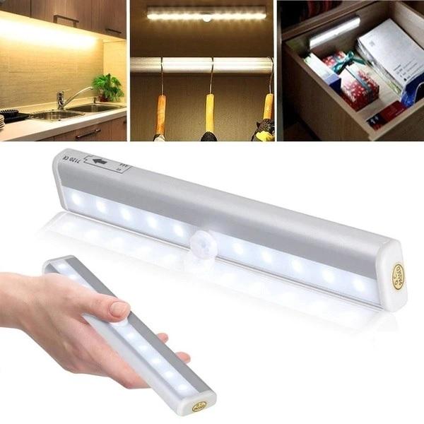 LED Lampe Leiste zum Ankleben mit Batterie und Bewegungssensor