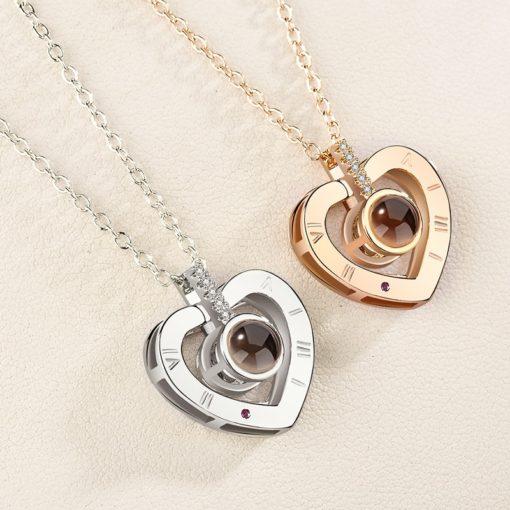 Herz-Halkette, Damenschmuck, Halskette Herz Hologramm