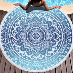 Rundes Mandala Badetuch Blau