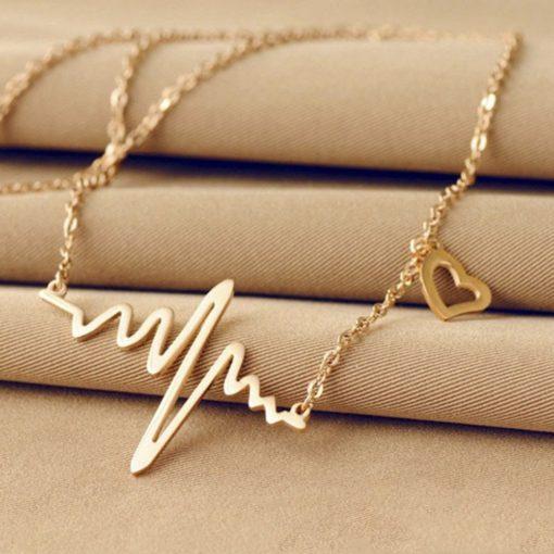 Damen Mode Schmuck, Puls Symbol, Damen Schmuck, Halskette, Dekolleté, Schmuckfachhandel Schmuck Online-Shop Schweiz