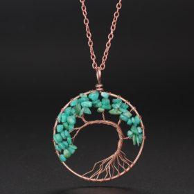 Halskette mit Weltenbaum Anhänger, Yggdrasil, echte steine