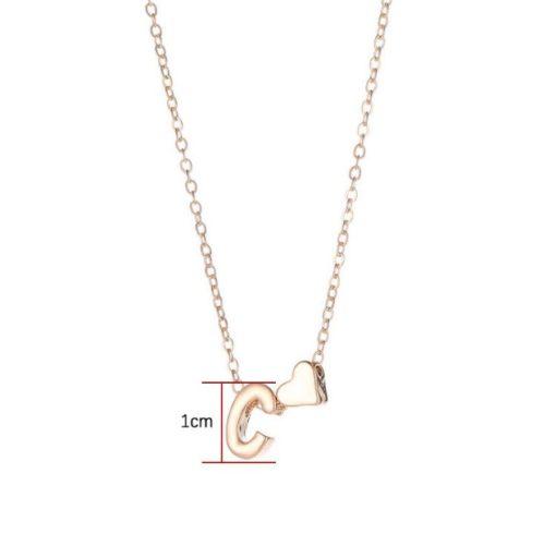 Schmuck personalisierbar, Persönliche Halskette Buchstabe mit Herz, idividuelle Buchstaben Halskette, Schmuckshop Schweiz