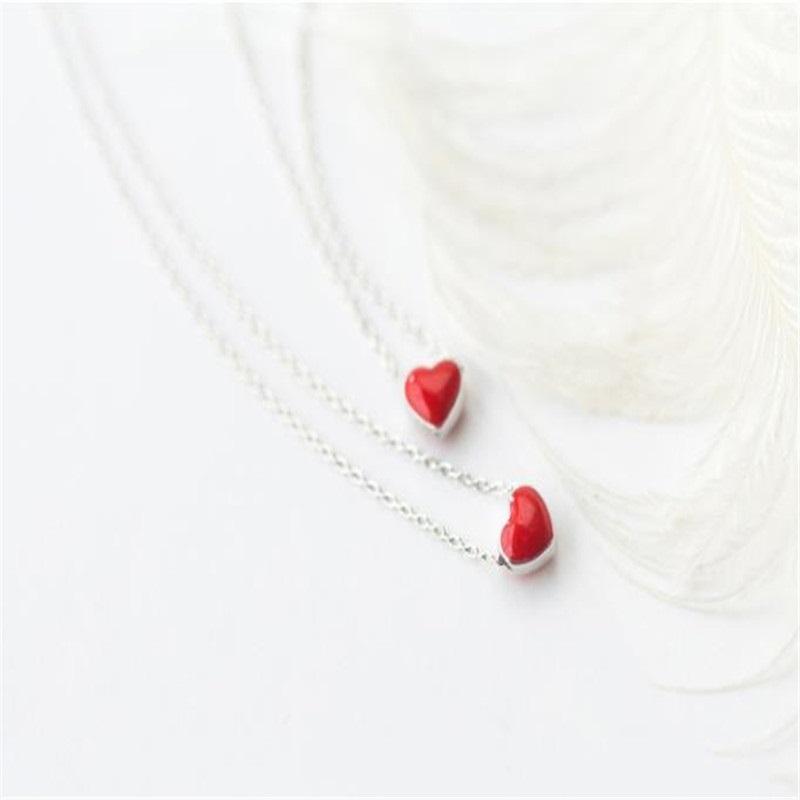 Silber Halskette mit Herzanhänger, Little Red Heart