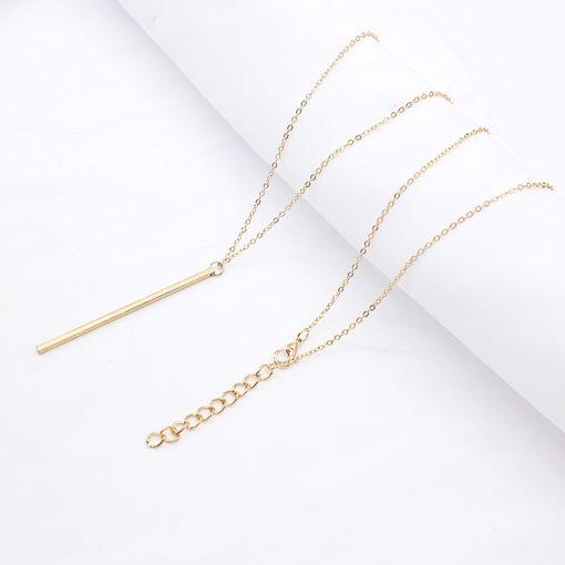 Lange Gold Halskette mit Stab Anhänger