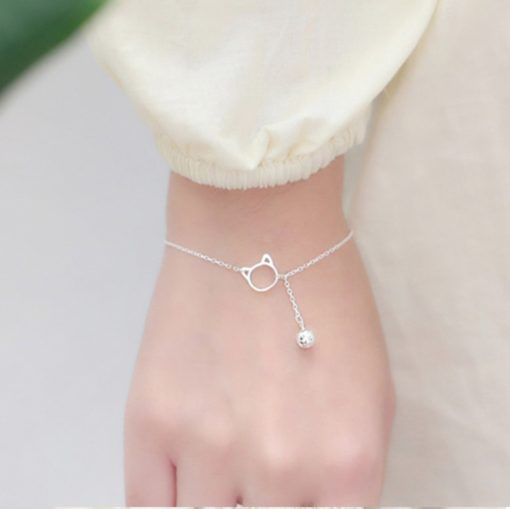 Silber Katze Armband