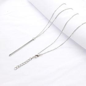 Lange Silber Halskette mit Stab Anhänger