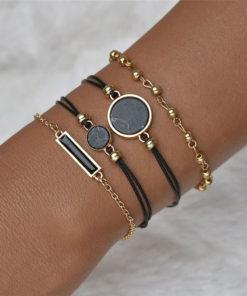 Mode Arm Schmuck Schwarz-Gold