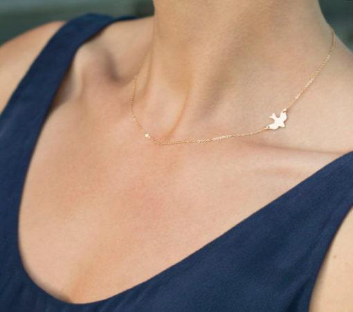 Gold Choker Halskette mit Vogel