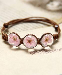 Freundschafts Armbänder Ewige Blume, echte Blume im Stein