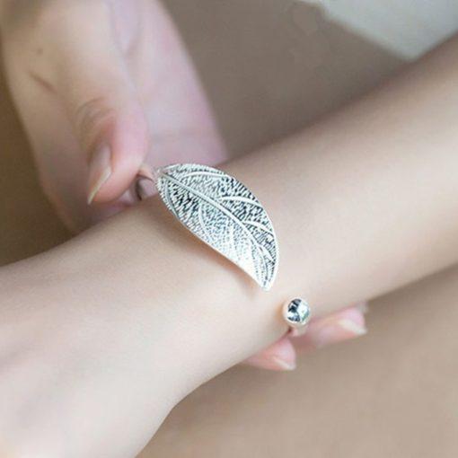 Silber Armreif, Modeschmuck, Blatt der Göttin