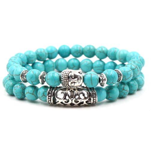 Türkis Perlen Armband Inner Peace mit Buddha, Modeschmuck, Damenschmuck, schweiz