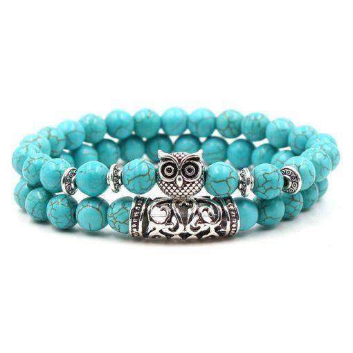 Türkis Perlen Armband mit Eule, Modeschmuck, Damenschmuck, schweiz