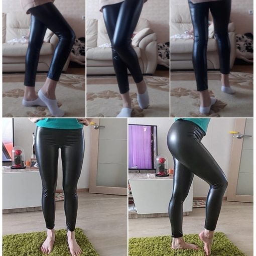 Gefütterte Leder Leggings glänzend