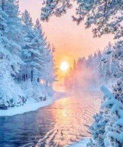 Schnee-Landschaft Malen nach Zahlen diverse Malvorlagen Schweiz