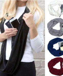 Schlauch Loop Schal mit versteckter Tasche