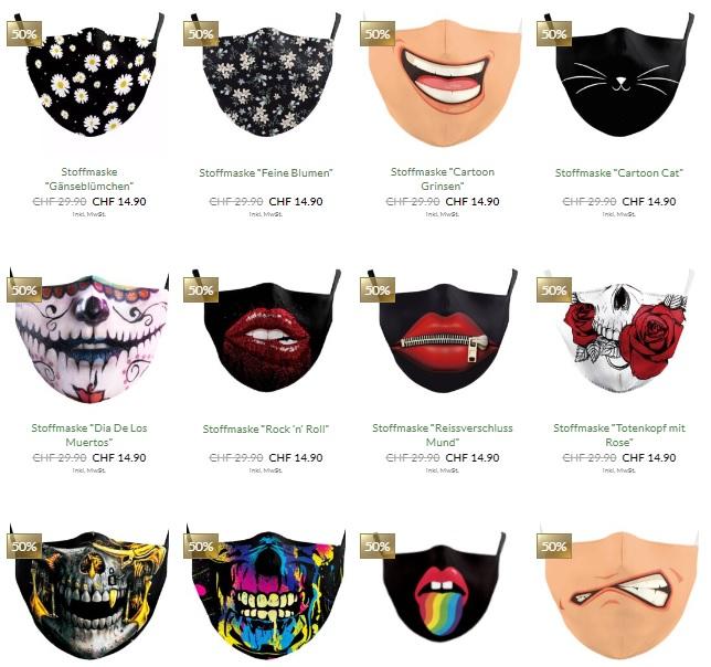 Grosse Auswahl an bedruckten Stoffmasken beim Schweizer Onlineshop Survivo.ch