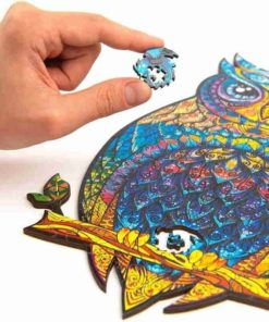 Magisches Holzpuzzle aus Tieren Eule