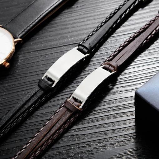 Leder Stahl Silber Armband mit Gravur