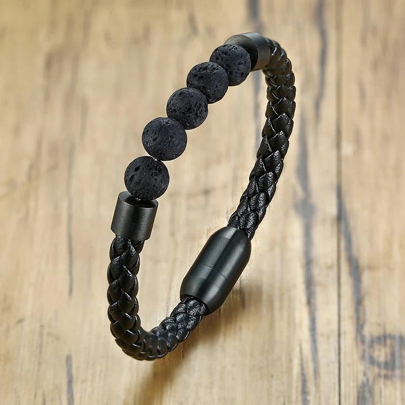 Lava-Stein Armband Vulkanstein Herren Armband Mode
