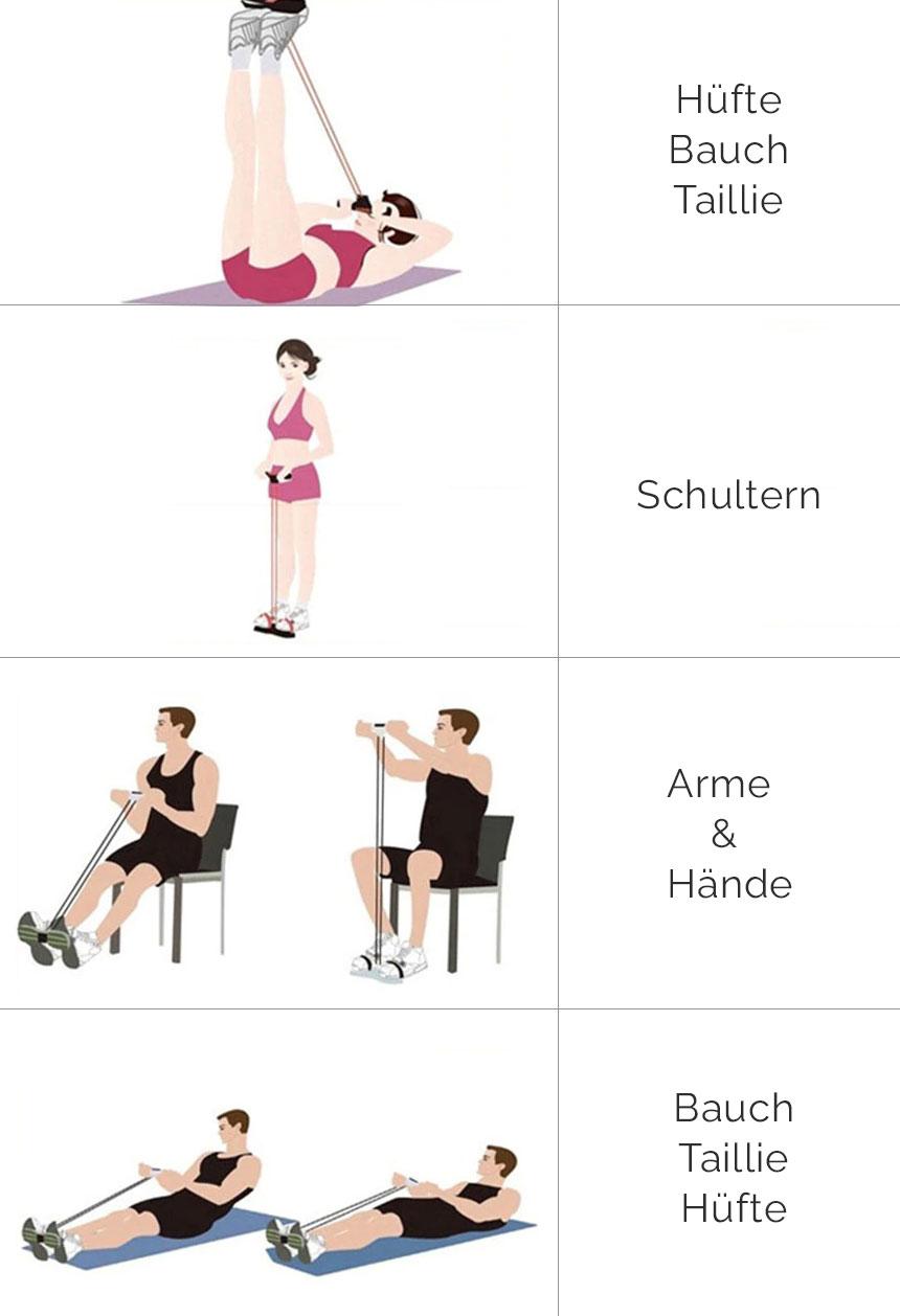 Widerstandsbänder mit Griff Übungen
