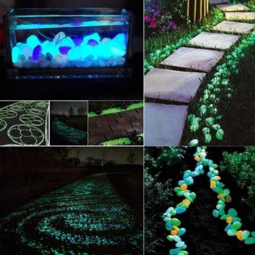 Leuchtende Deko Steine Garten