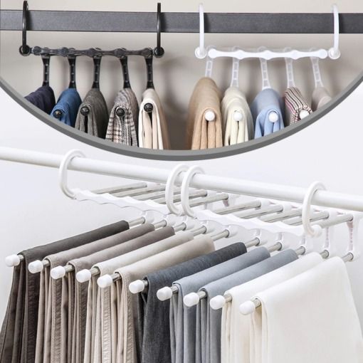 platzsparender Kleiderbügel für mehrere Hosen