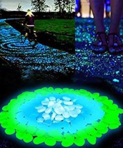 Leuchtende Deko Kiesel Garten