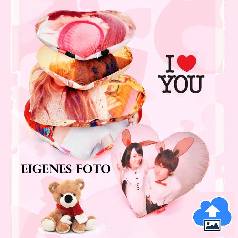 Foto Herz-Kissen mit eigenem Foto-Upload