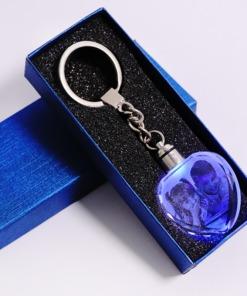 Foto-Gravur Kristall-Herz Schlüsselanhänger