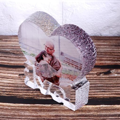 "Herz-Kristall Rahmen ""Foto-Gravur"""