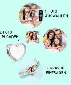 Silber Foto-Herzanhänger mit Gravur