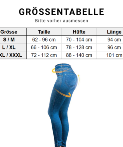 Jeans Leggings Jeggings Grössentabelle